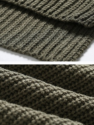 Casual Long Sleeve Knitted V neck Sweater_11