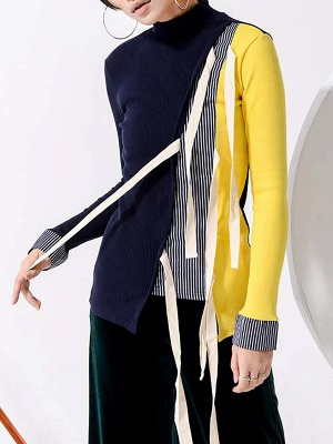 Multicolor Stand Collar Paneled Statement Sheath Sweater_6