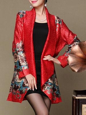 Asymmetrical Long Sleeve Shawl Collar Casual Crinkled Printed Coat_1