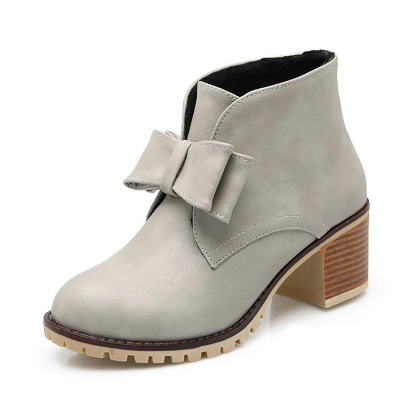 Daily Chunky Heel Bowknot Round Toe Elegant Boots_7