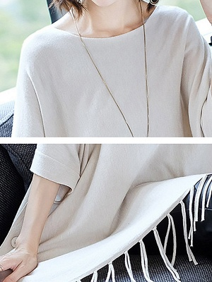 Casual Batwing Crew Neck Fringed Solid Sweater_9