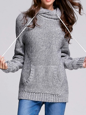 Paneled Sports & Outdoor Sheath Long Sleeve Sweater_5