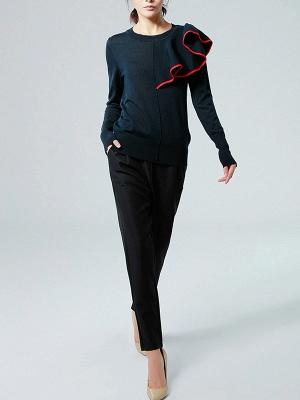 Black Paneled Long Sleeve Crew Neck Casual Wool Sweater_4