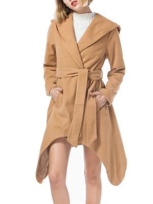 Long Sleeve Hoodie Asymmetrical Solid Casual Coat_1