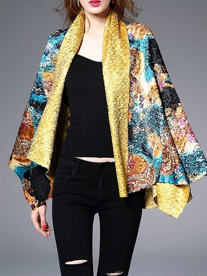 Green Casual Shawl Collar Asymmetrical Abstract Crinkled Coat_1
