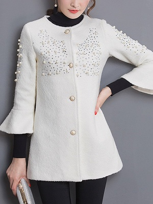 Bell Sleeve Work Shift Buttoned Beaded Coat_1
