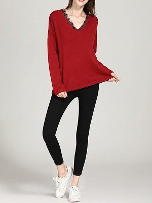 Crew Neck Long Sleeve Casual Shift Sweater_1