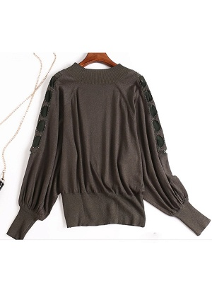 Crew Neck Batwing Casual Sweater_4