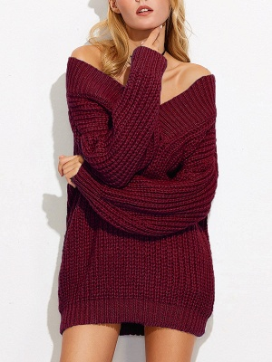 Off Shoulder Solid Shift Long Sleeve Casual Sweater_1