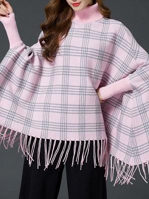 Checkered/Plaid Elegant Batwing Sweater_10
