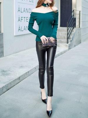 Green Long Sleeve Sheath Solid Sweater_4