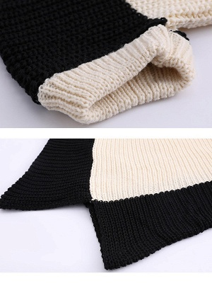 Knitted Batwing Shift Casual Solid Knit Top_7