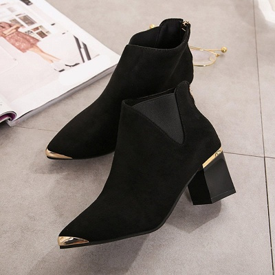 Suede Chunky Heel Pointed Toe Elegant Boot_2