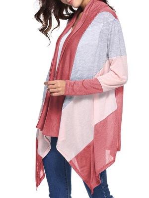 Cotton Casual Asymmetric Long Sleeve Color-block Coat_1