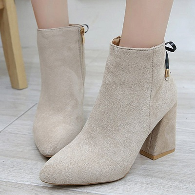 Chunky Heel Daily Lace-up Pointed Toe Zipper Elegant Boots_5