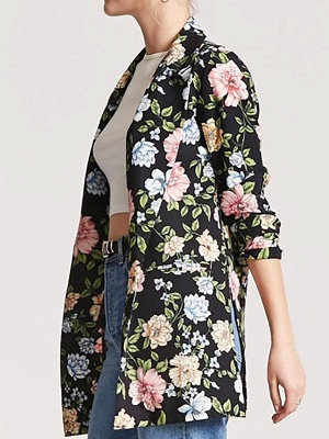 Black Cotton Casual Shift 3/4 Sleeve Floral Coat_4
