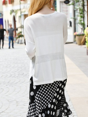 White Cutout Long Sleeve Shift Sweater_3