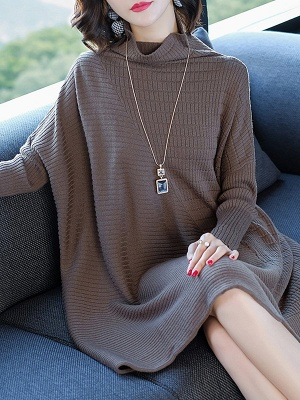 Casual Shift Ribbed Batwing Stand Collar Sweater_2