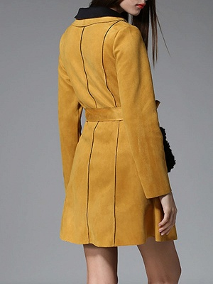 Yellow Casual Solid Shift Long Sleeve Coat_3