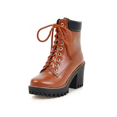 Daily Lace-up PU Round Toe Chunky Heel Boots_8
