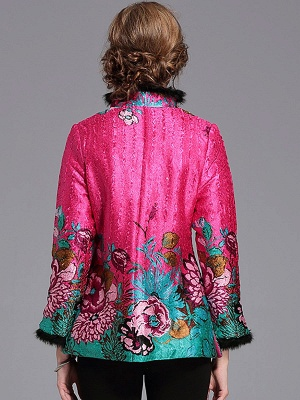 Paneled Crinkled Fluffy Buttoned  Printed Coat_4
