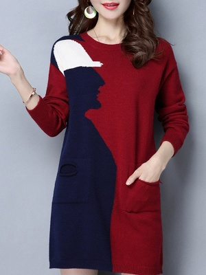Casual Graphic Long Sleeve Color-block Sweater_2