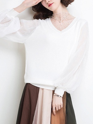 Shift Balloon Sleeve Guipure lace Casual Sweater_1