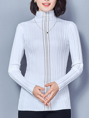 Ribbed Long Sleeve Solid Casual Sheath Sweater_1