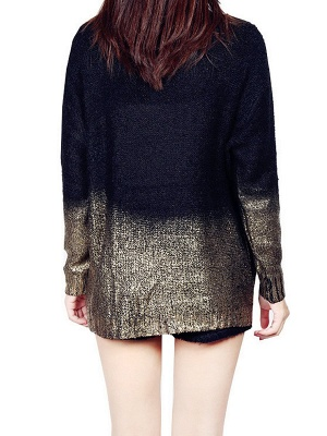 Shimmer Crew Neck Casual Long Sleeve Solid Sweater_6