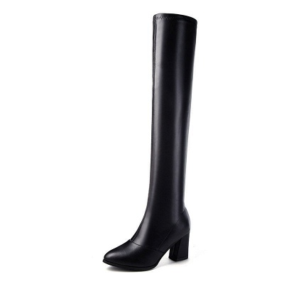 Black Winter Chunky Heel Daily Pointed Toe PU Boot_7