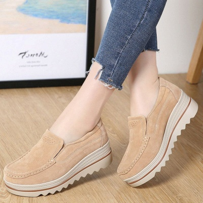 Casual Round Toe Leather Flat Heel Loafers_2