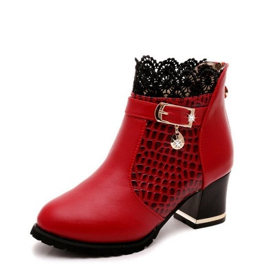 Chunky Heel Zipper Pointed Toe Buckle Boots_9