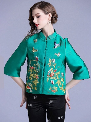 Vintage Buttoned Embroidered 3/4 Sleeve Coat_8