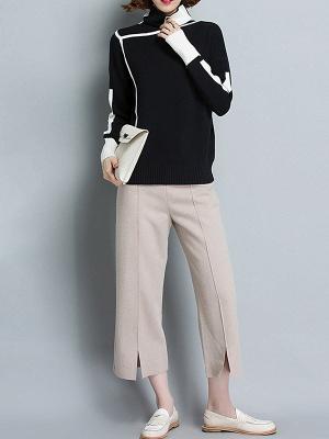 Plain Casual Turtleneck Long Sleeve Shift Sweater_8