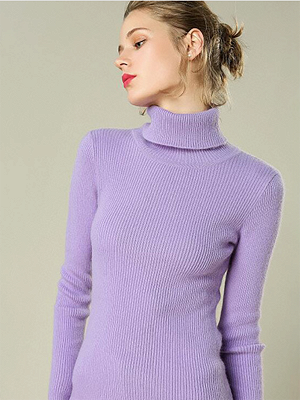 Sheath Turtleneck Ribbed Casual Long Sleeve Sweater_4