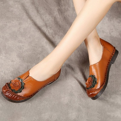 Flower Round Toe Casual Leather Loafers_5