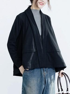 Solid Long Sleeve Casual Paneled V-Neck Coat_2
