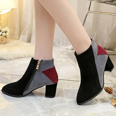 Zipper Chunky Heel Daily Pointed Toe Elegant Boots_2