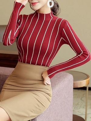 Casual Long Sleeve Sheath Sweater_5