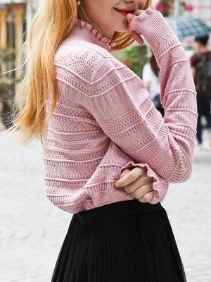 Pink Shift Balloon Sleeve Stand Collar Sweater_6