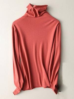 Casual Sheath Turtleneck Long Sleeve Sweater_3