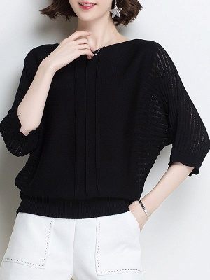 Ice Yarn Knitted Shift Casual Batwing Sweater_11