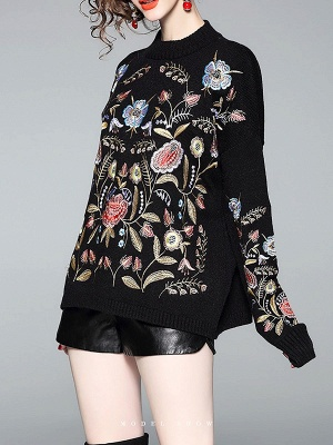 Black Shift Embroidered Crew Neck Long Sleeve Sweater_4
