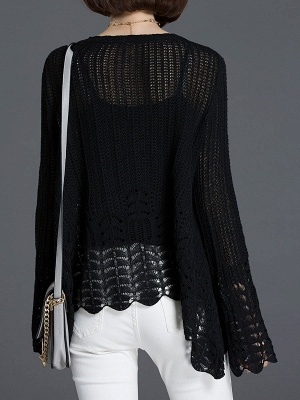 Crocheted Daily Casual Knitted Shift Sweater_15