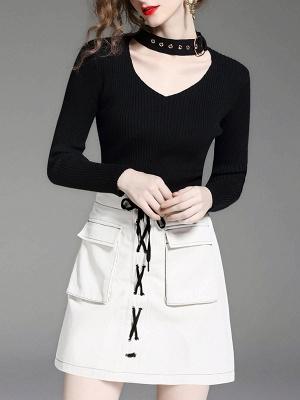 Black Long Sleeve Solid V neck Paneled Sweater_7
