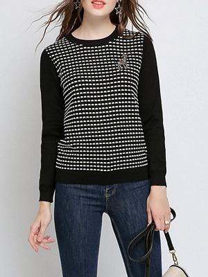 Black Long Sleeve Beaded Casual Crew Neck Sweater_1