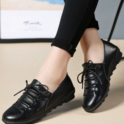 Casual Round Toe Lace-up Flat Heel Loafers_3