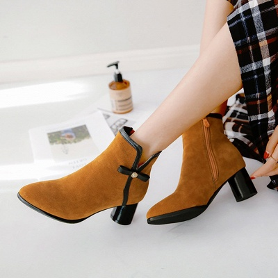 Daily Chunky Heel Zipper Pointed Toe Boots_4