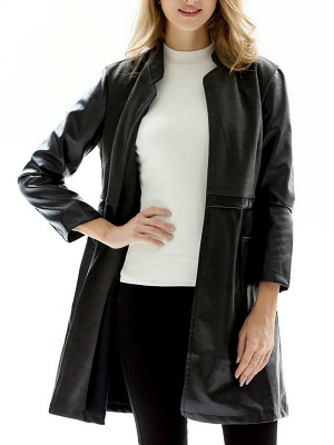 Black Long Sleeve Stand Collar Coat_6
