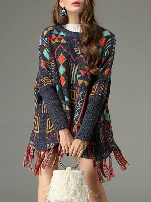 Multicolor Geometric Long Sleeve Casual Fringed Sweater_1